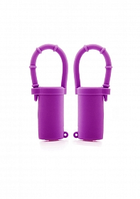 Vibrating Nipple Belts - Purple