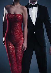 Alina Bodystocking - Red - One Size