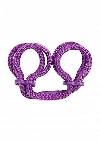 Japanese Silk Love Rope Wrist Cuffs - Purple