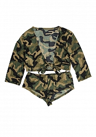 Hotpants + top Army S/M