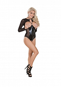 Long Sleeve Cupless & Crotchless Teddy - Black