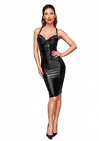 Knee-length wetlook dress - Black