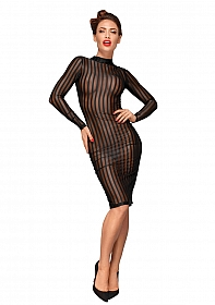 Striped knee-length tulle dress  - Black