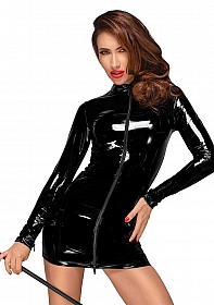 Long sleeved PVC mini dress - Black