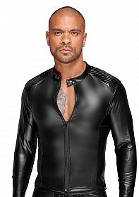 Wetlook jacket with PVC pleats - Black
