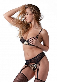 Tiger Printed Set with Bra, Garter Skirt and G-String